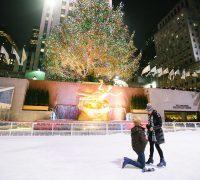 nyc proposal photography at Rockefeller ice skating rink